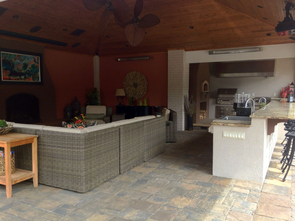 Outdoor home theater, sound system and bar with lighting from Thompson Electrical Service
