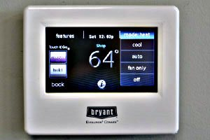 Heating and air system thermostat by Bryant in the tricities tn area
