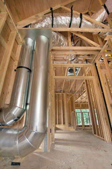 Heating and air custom duct in a home under construction in the tricities tn area
